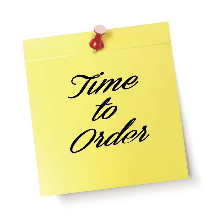 "Time to Order Graphic - ""Time to Order"" written on a yellow sticky note"