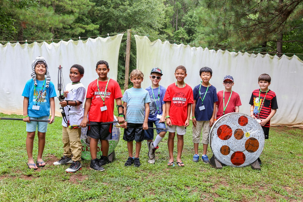 Boys at archery range at camp wannaklot