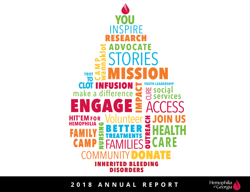 FY18 Annual Report Front Cover Graphic word cloud in blood drop form
