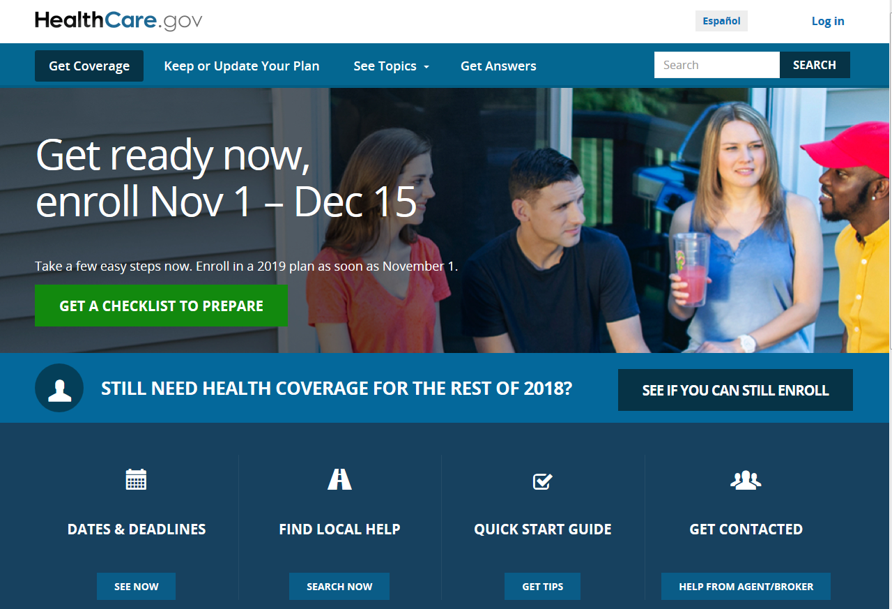 Healthcare.gov graphic screen capture of the website home page