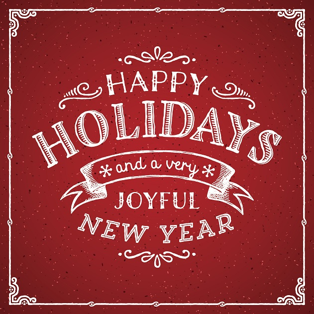 Happy Holidays and a Happy New Year Graphic - text on red background