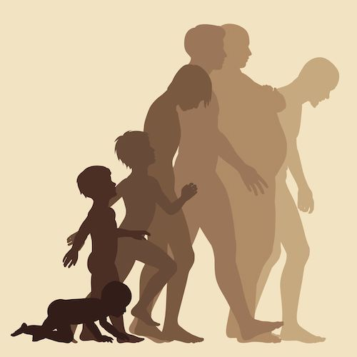 silhouettes of baby becoming an adult