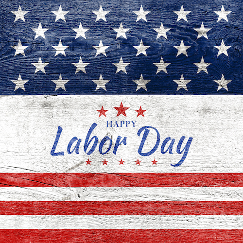 Labor Day text over american flag