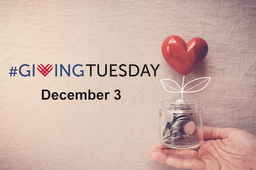 Giving Tuesday 2019 text and a heart tied to coins