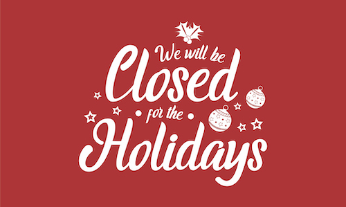 Closed for the Holidays white text on a red background
