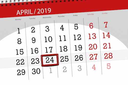 calendar with april 24 highlighted