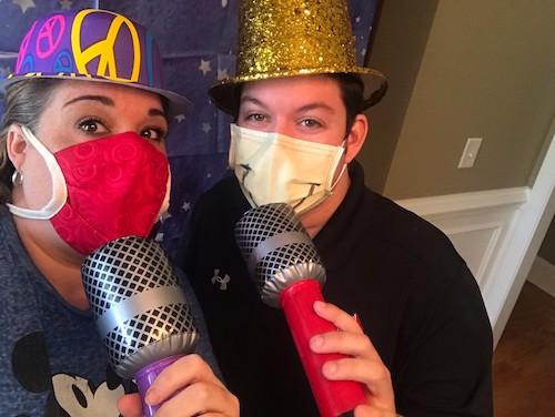 Olive and Carlos masked karaoke