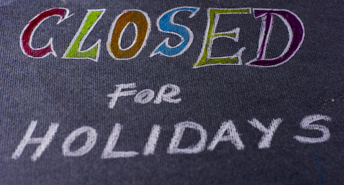 Closed for the Holidays chalk writing